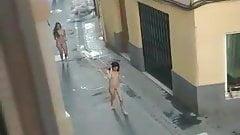 Naked girls walk