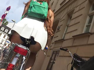 Amateur women short skirts on bikes Upskirt short skirt on bike