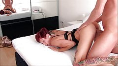 Young redhead blows and gets fucked in doggystyle