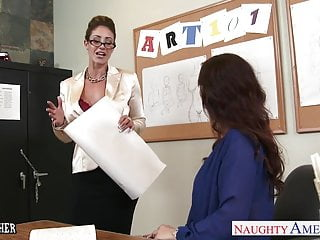Large visible dick in pants - Sex teachers eva notty and syren de mer sharing a large dick