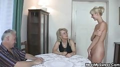 Girl involved into threesome with old parents