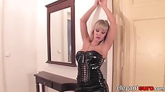 Euro hottie in latex high heels toying her ass and pussy