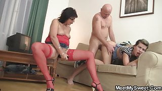 Perverted old couple seduce stepson's young wife
