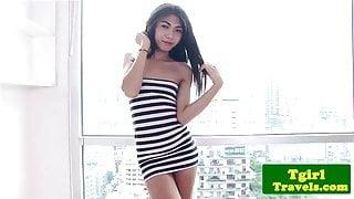 Stripteasing ladyboy pleasures herself
