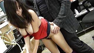 Busty brunette amateur fucks her boss at work