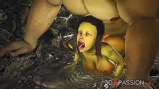 Extreme monster Ogre fucks Hot female Goblin hard outdoors