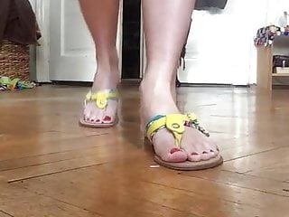 Bottom of my feet are yellow Tanja sexy barefoot feet walk and yellow sandals