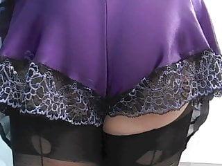 Female knickers upskirt - Purple satin french knickers
