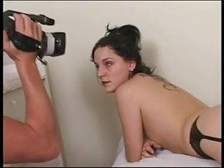 Pics of b cup breasts - Leggy b-cup gartered brunette gives dude wet rimmer then gets fucked