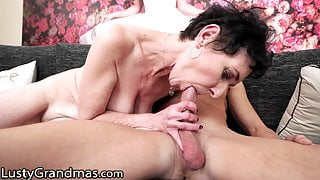 Thirsty GILF Gets Destroyed By Her BF's Grandson's Big Dick
