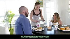 Naughty Girl Gives Her Dad A Footjob Under Breakfast Table