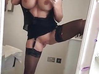 Big tit blonde milf - Big tit blonde milf plays in front of the mirror