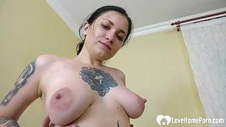 Tattooed maid loves rubbing her wet snatch