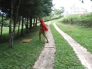 Sexual innuendos lawn cutting Sexy red-riding hood poked by 2 big cocks on lawn