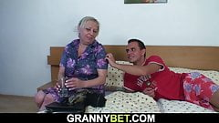 Busty old blonde granny is doggy-fucked