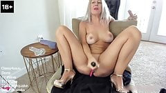 Intense masturbation from a blonde busty mom