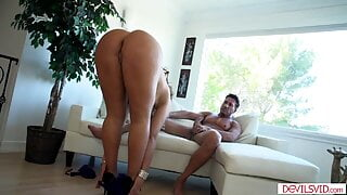 Big assed Latina blows, then gets assfucked by a big cock