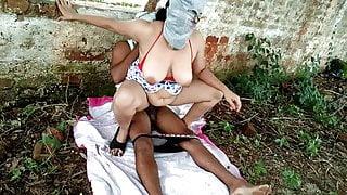 Boss' Wife Riding Employee's Dick Outdoors - Public sex