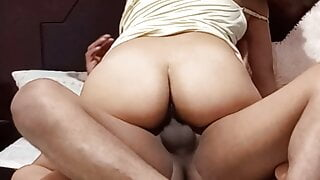 Fucking my sister in law in my brother's bed teaching anus