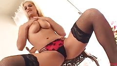Blonde fingering in high high fishnet stockings