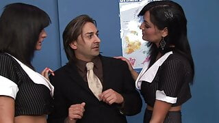 Gorgeous office brunettes get fucked and creamed by one horny guy