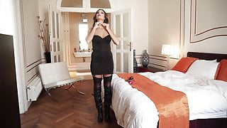 Amazing beauty girl tied spread blindfolded struggles