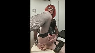 Sissy fucks her ass and cums