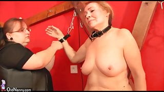 Old granny slave is whipped