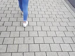 Germany ass Sweet walking teen ass in jeans - germany