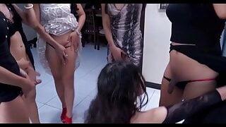 Thai Ladyboys Orgy sucking each other cocks for fun cums