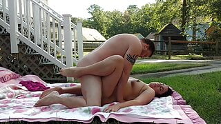 Amateur couple have passionate outdoor sex
