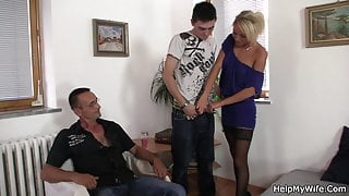 He asks young guy fuck his hot wife for money
