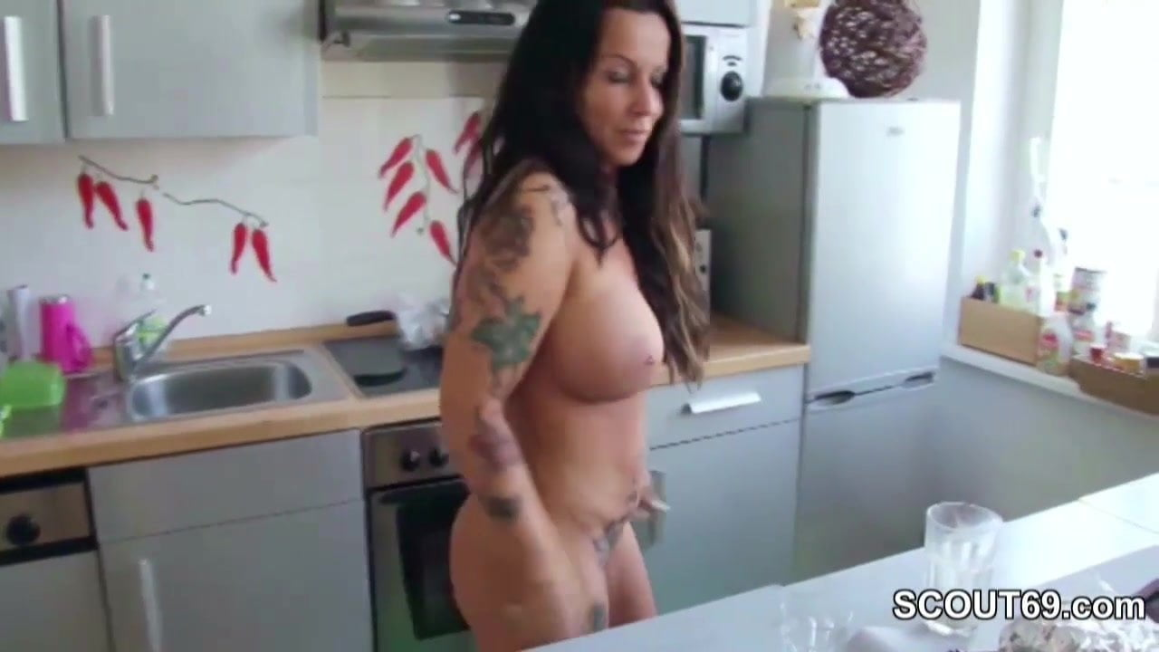 Stepson caught german mom naked in kitchen and fuck her