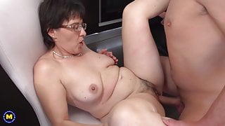 Taboo sex on kitchen with mom and step son