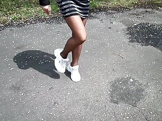 Fetish loud nylon sex shorts smacking White sneakers, pantyhose cappuccino color and short dress