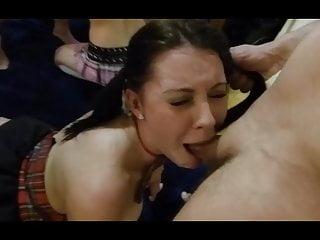 Gagged cum slut - Slut gags on cock for cum