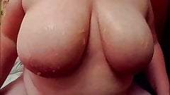 Wife Showing Off Her Big Natural Cum Catchers