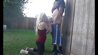 Sucking cock outside home