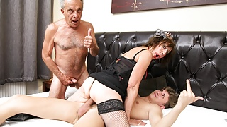 Fucked up Father and Step Son Pounding an Old Bitch