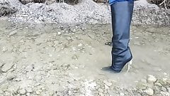 Versace metal heel leather boots in the river!