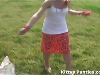 Kite hentai clip Nubile 18yo kitty playing with a kite