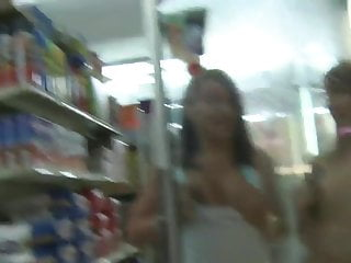 Naked girls showing their hairy pussys - Three girls showing off their naked bodies in a supermarket