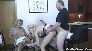 His parents and his GF get it on