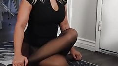 Asian yoga in pantyhose 1