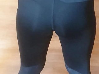 Girls view visible penis outline Fit girl visible thong in see through legging