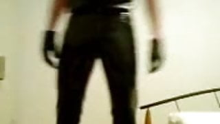 Having fun in pvc pants, leather gloves, latex shirt.