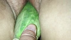 Girlfriend picked a big cucumber out of the garden