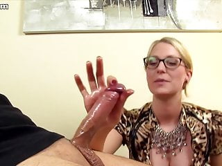 Sexy blouse porn German mistress in satin blouse lets him suffer