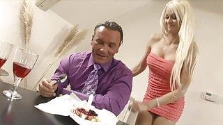 Stunning blonde in red lingerie fucks her man in the bedroom