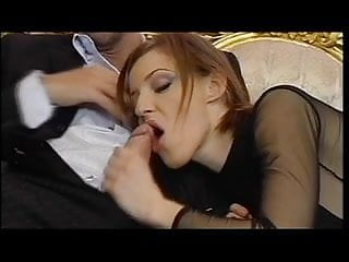 Wild and sexy mature Sexy ginger sucks cock and gets double-penetrated in wild threesome